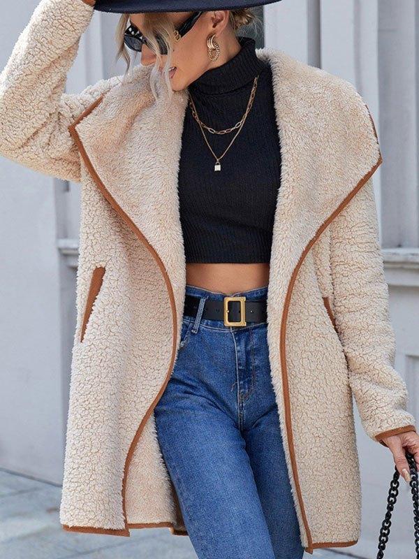 Draped Reversible Fleece Jacket - Apricot M
