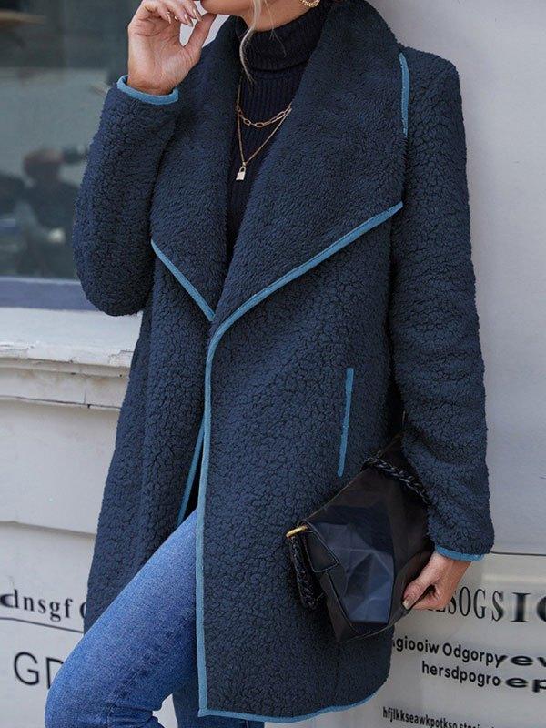 Draped Reversible Fleece Jacket - Navy Blue L