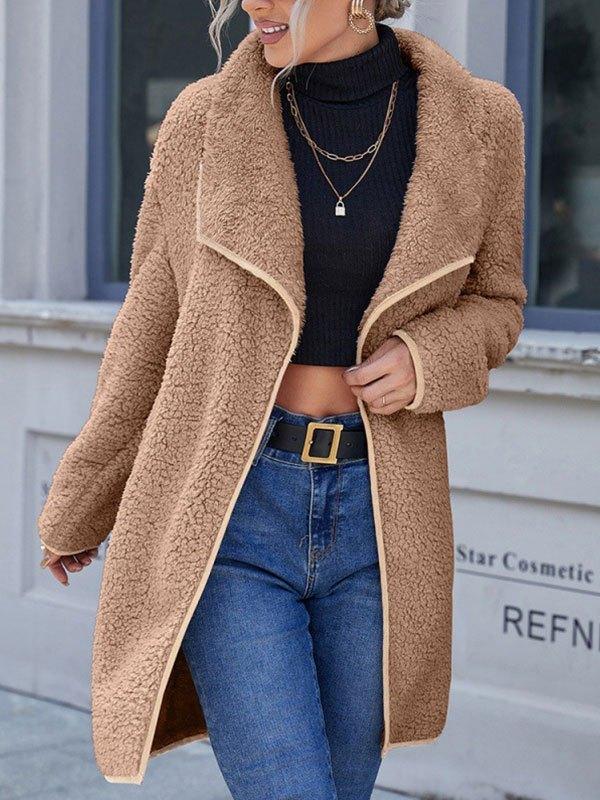 Draped Reversible Fleece Jacket - Camel S