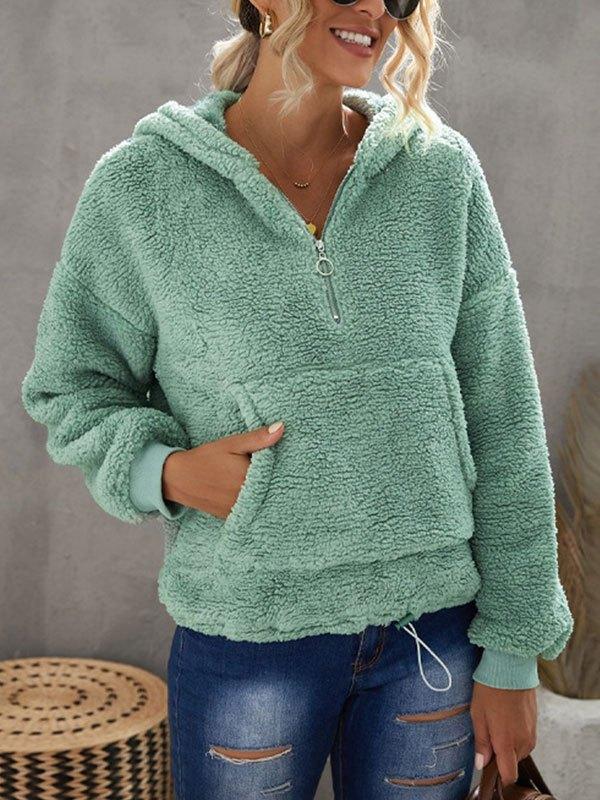 Quarter Zip Fleece Hoodie - Green M