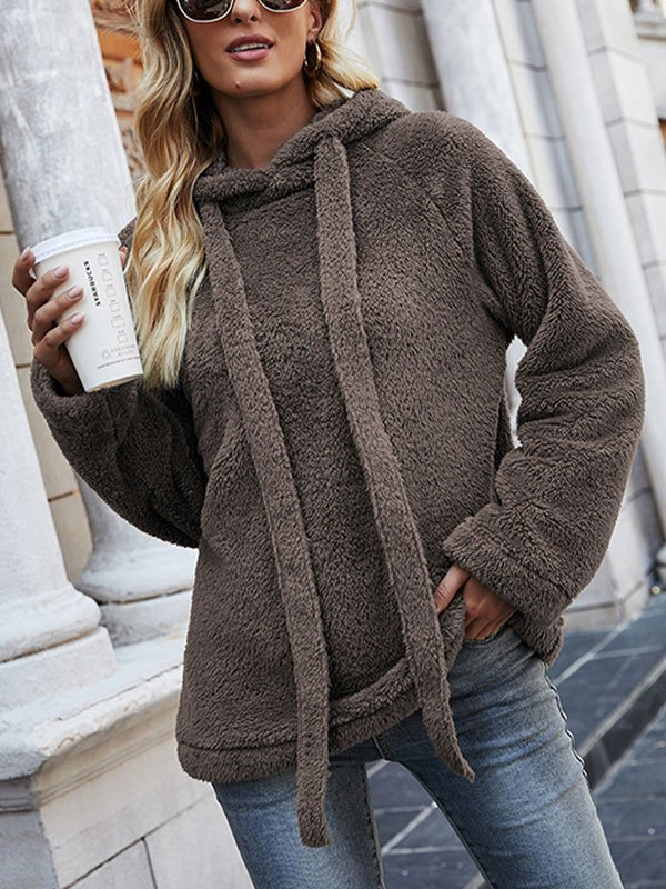 Cozy Reversible Fleece Hoodie - Brown L