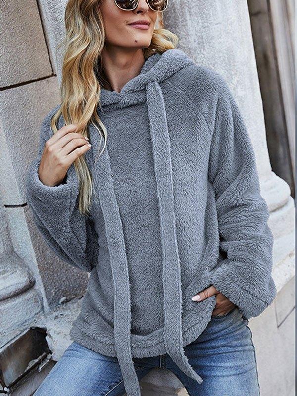 Cozy Reversible Fleece Hoodie - Blue L