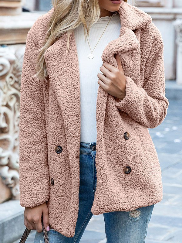 Double Breasted Sherpa Jacket - Pink M