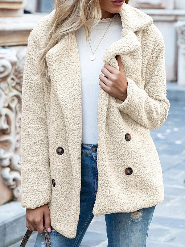 Double Breasted Sherpa Jacket - Ivory L