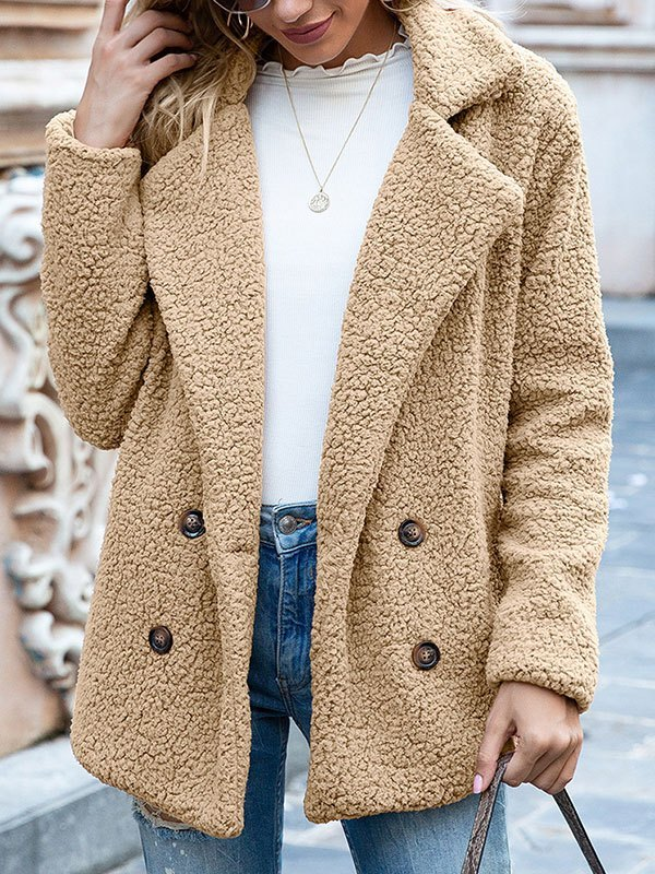 Double Breasted Sherpa Jacket - Camel S