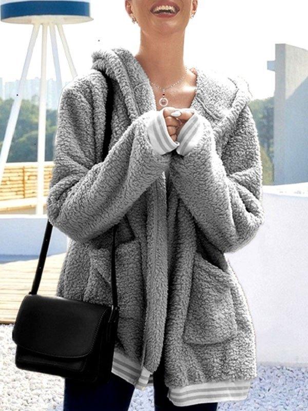 Hooded Longline Fleece Jacket - Gray M