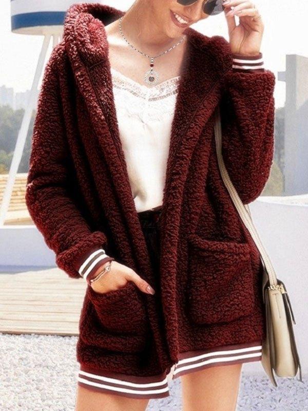 Hooded Longline Fleece Jacket - Burgundy S