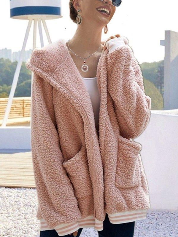 Hooded Longline Fleece Jacket - Pink L