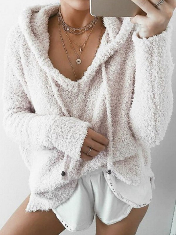 Cozy Pullover Fleece Hoodie - Ivory L