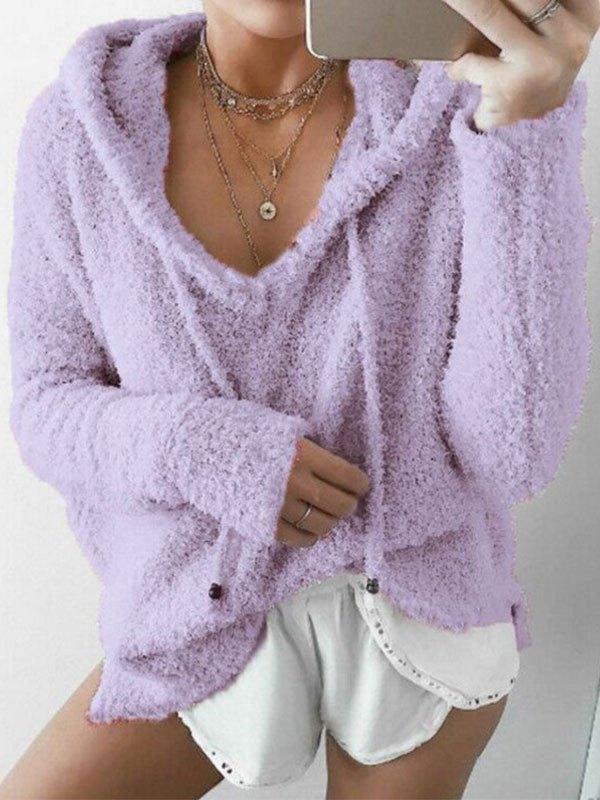 Cozy Pullover Fleece Hoodie - Purple S