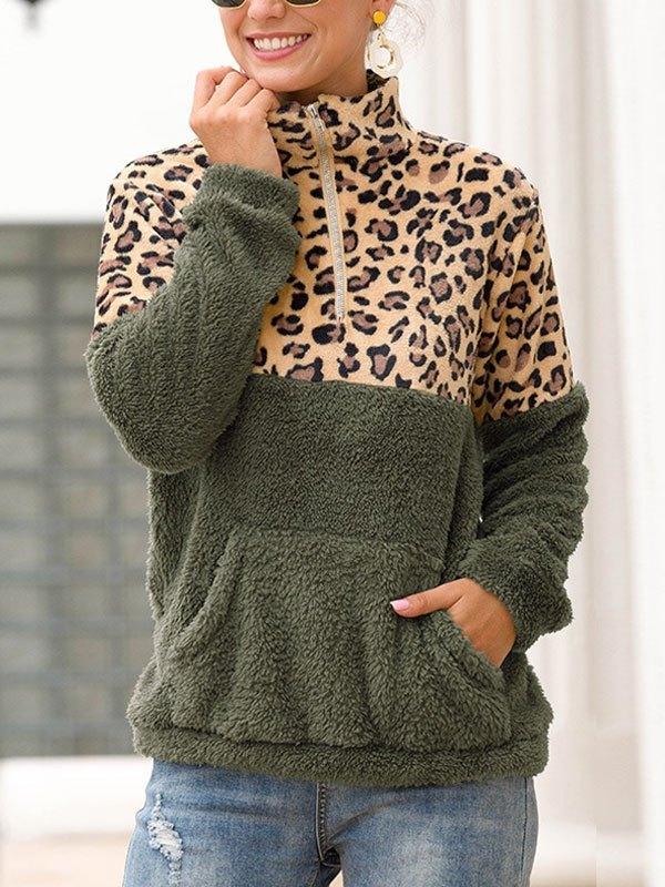 Patchwork Leopard Zip Fleece Sweatshirt - Green L