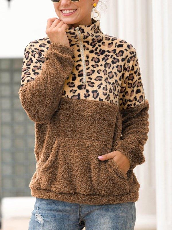 Patchwork Leopard Zip Fleece Sweatshirt - Camel L