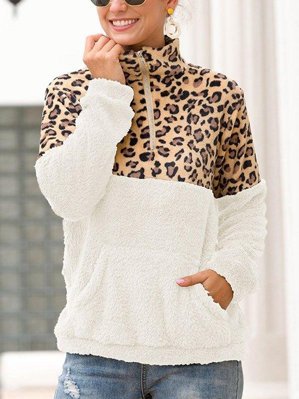Patchwork Leopard Zip Fleece Sweatshirt - White L