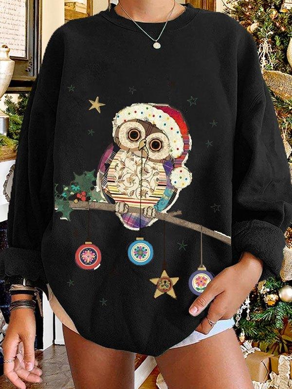 Christmas Owl Graphic Sweatshirt - Black L