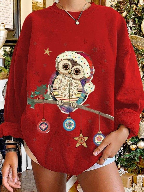 Christmas Owl Graphic Sweatshirt - Red S