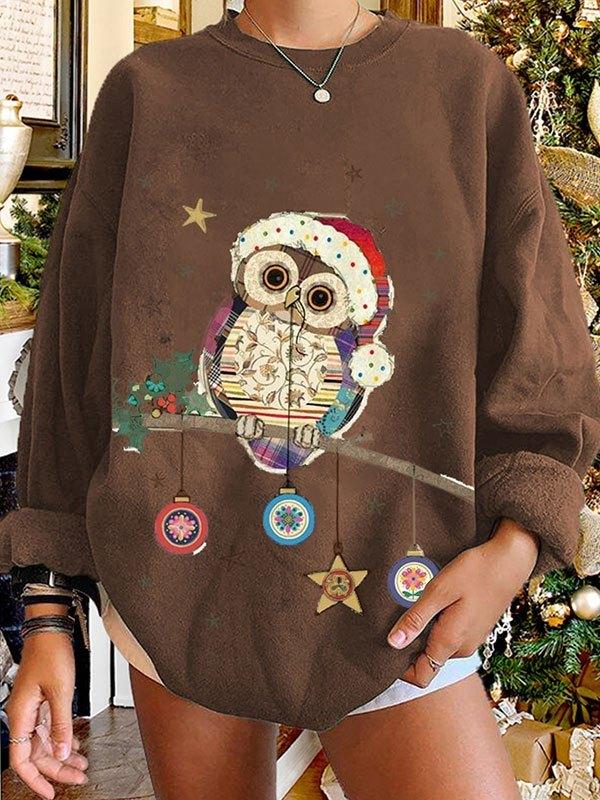 Christmas Owl Graphic Sweatshirt - Coffee M