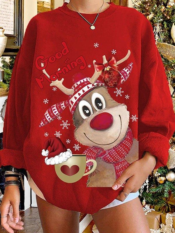 Christmas Moose Print Sweatshirt - Red M