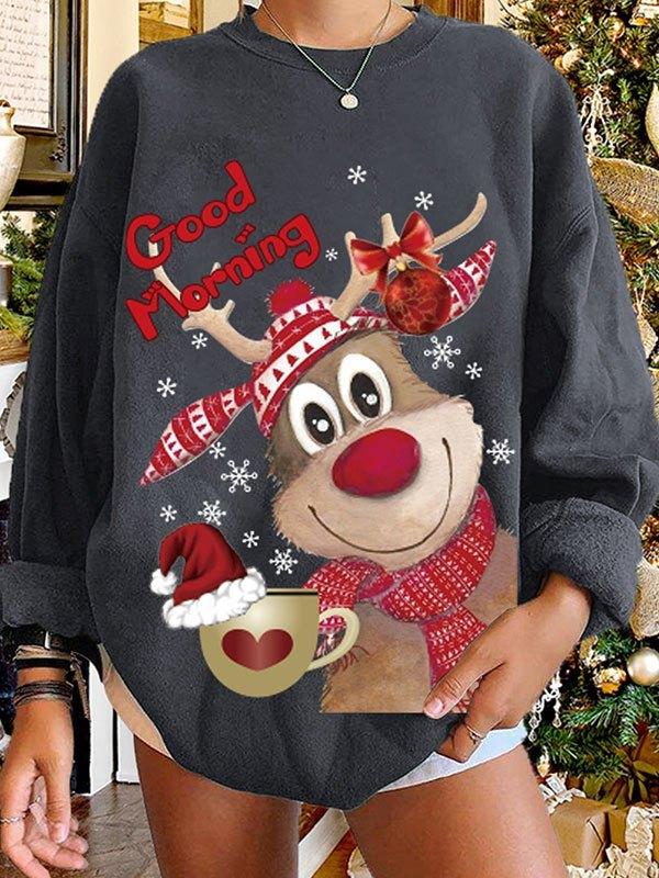 Christmas Moose Print Sweatshirt - Dark Gray L