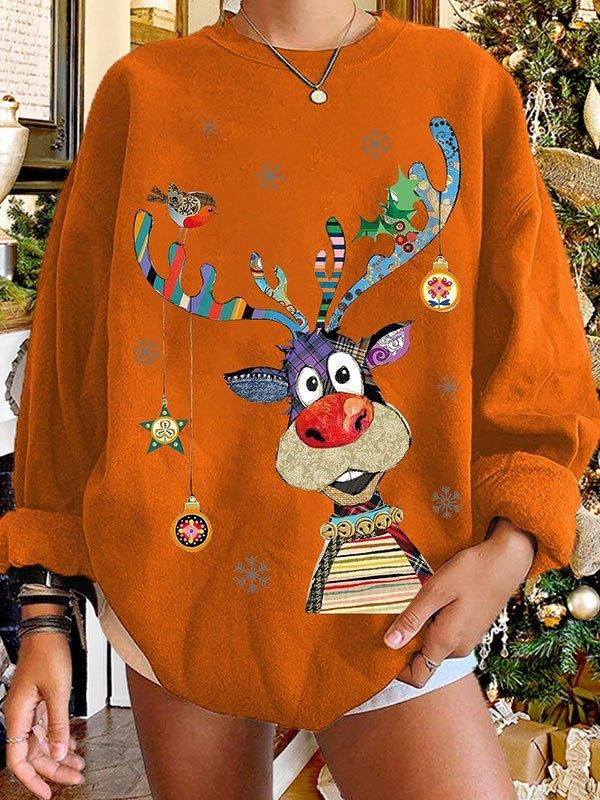 Crew Neck Christmas Moose Sweatshirt - Orange Red S