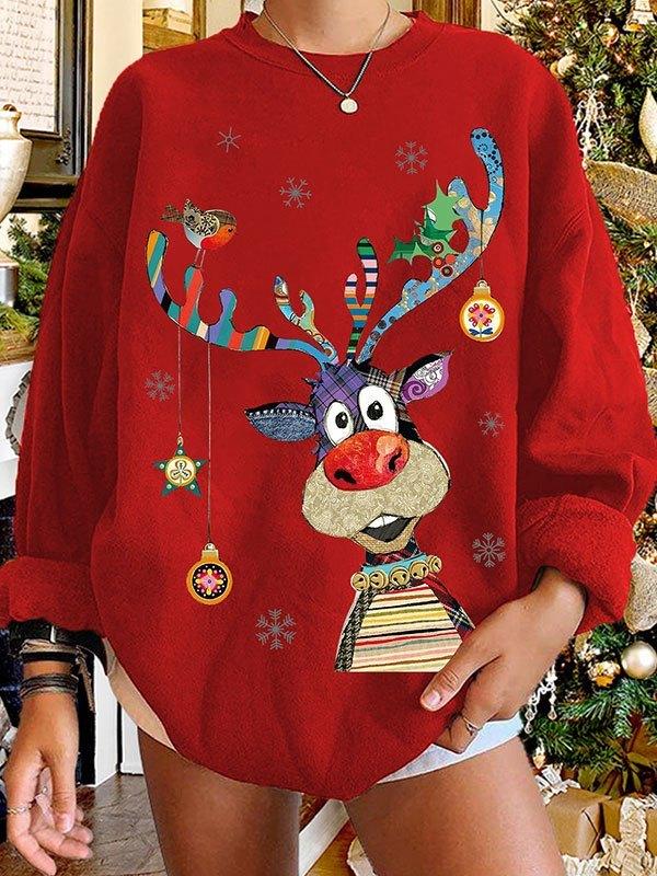 Crew Neck Christmas Moose Sweatshirt - Red S