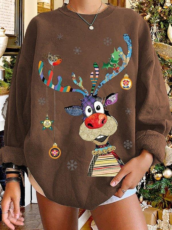 Crew Neck Christmas Moose Sweatshirt - Coffee L