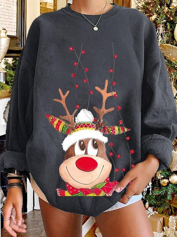 Christmas Elk Pullover Sweatshirt - Dark Gray M