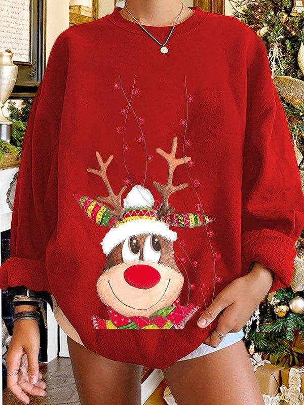 Christmas Elk Pullover Sweatshirt - Red L