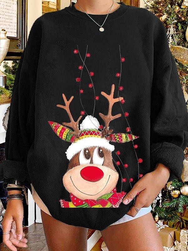 Christmas Elk Pullover Sweatshirt - Black M