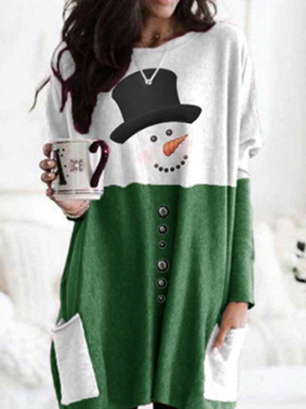 Patchwork Christmas Snowman Mini Dress - Green M