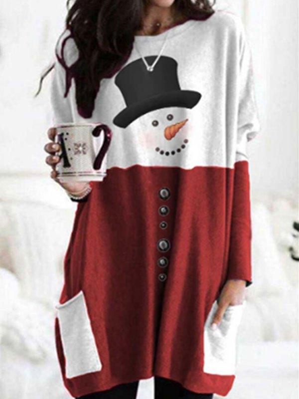 Patchwork Christmas Snowman Mini Dress - Red S