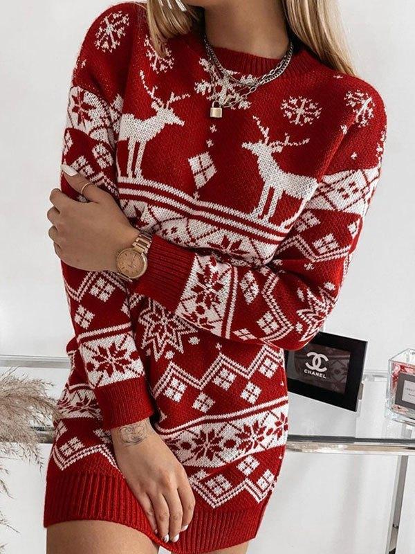 Christmas Long Sleeve Knit Mini Dress - Red M