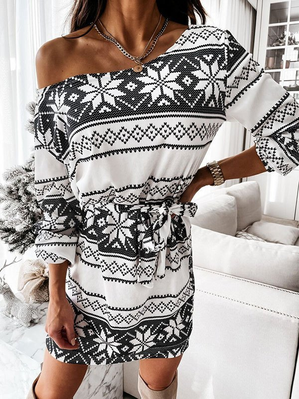 Lace Up Long Sleeve Christmas Mini Dress - White M