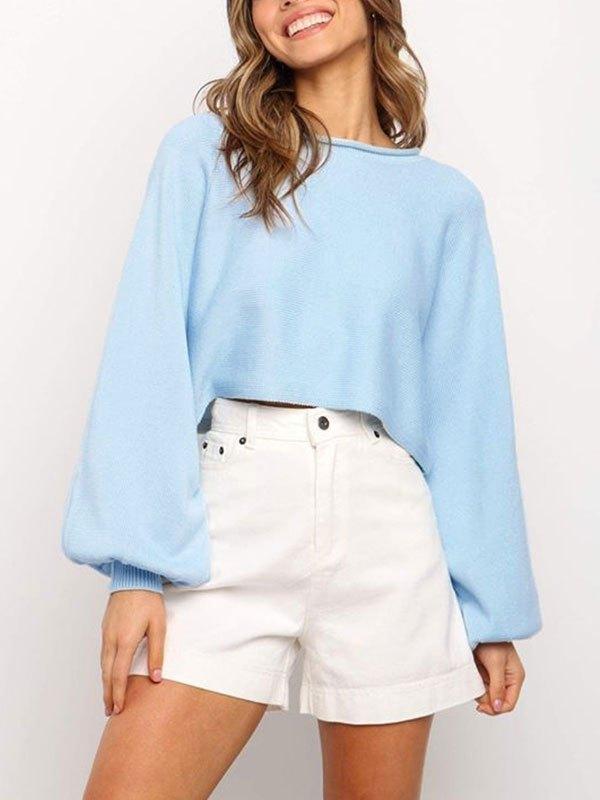Crew Neck Crop Knit Sweater - Blue M