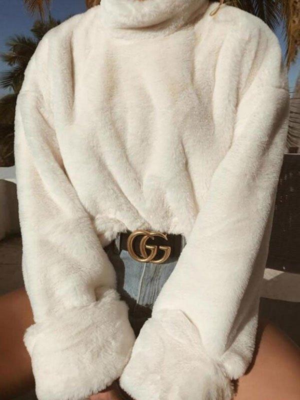 High Neck Fuzzy Sweater - White M