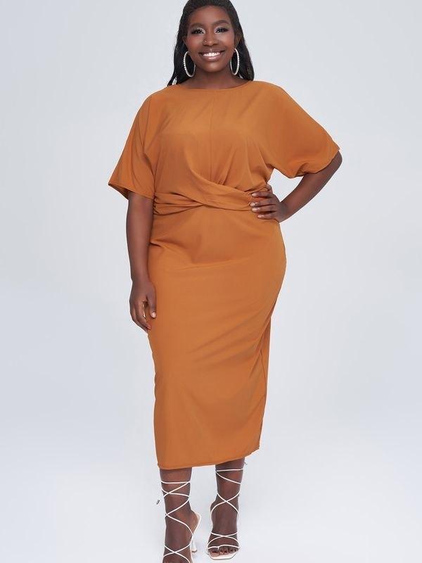 Orange Belted Waist Midi Dress - Orange 4XL