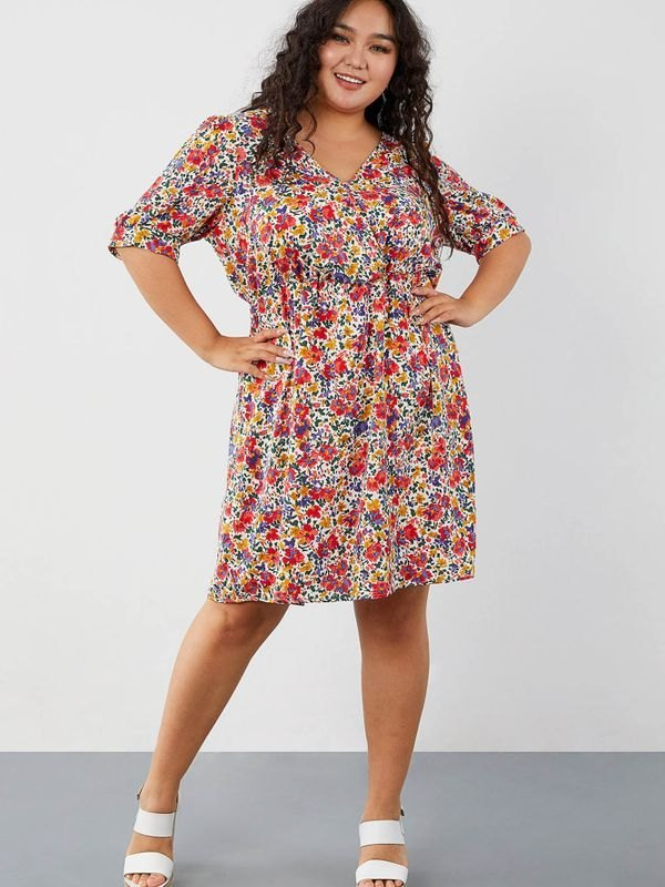 Plus Size Floral Puff Sleeve Mini Wrap Dress - multicolorple Colors XL